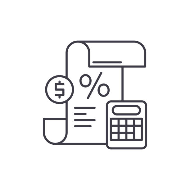 Profit and loss statement line icon concept. Profit and loss statement vector linear illustration, symbol, sign Profit and loss statement line icon concept. Profit and loss statement vector linear illustration, sign, symbol accounting ledger stock illustrations