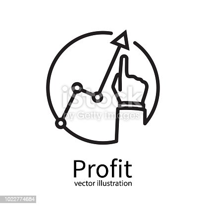 Profit concept black line minimal design, growing business graph. Businessman manages financial growth graph. Template investment. Vector illustration flat style. Finger up holding chart arrow.