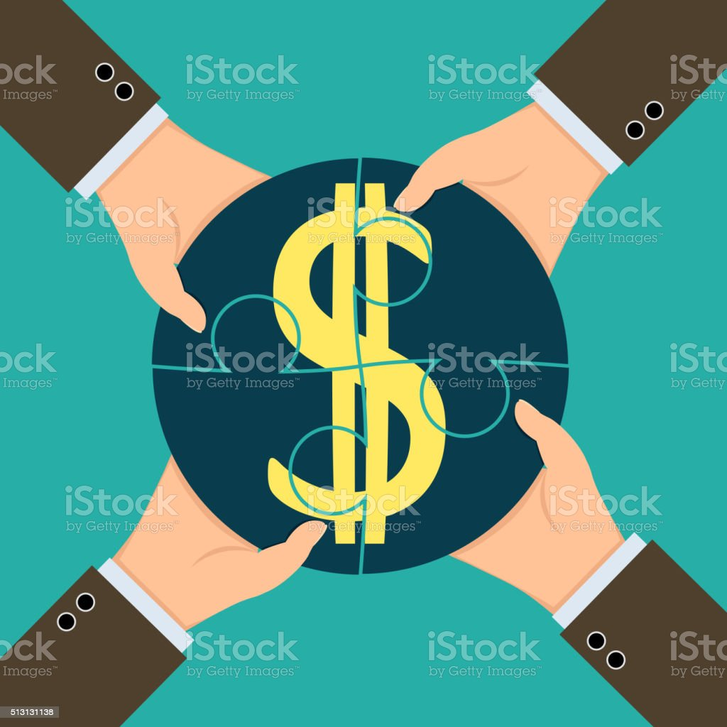 Profit from the partnerships vector art illustration