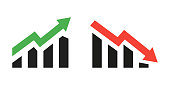 Profit growing green and red arrow icons. Isolated vector icon. Progress bar. Growing graphic icons graphic sign. Chart increase profit. Growth success arrow icon. EPS 10