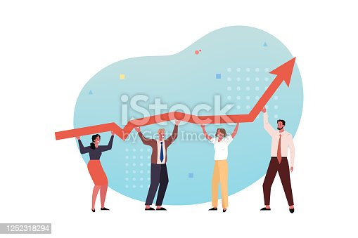 istock Profit growth, team, collaboration, partnership coworking business concept. 1252318294