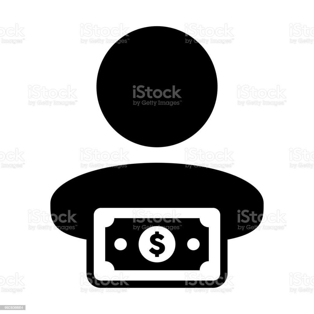 Profit Icon Vector Male User Person Profile Avatar With Dollar Sign