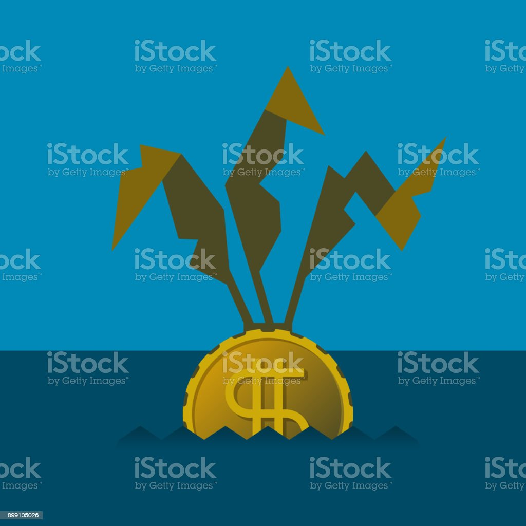 Profit loss and decline vector concept in flat style vector art illustration