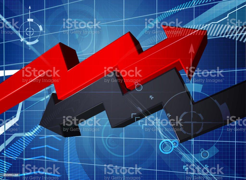 Gewinn Verlust Geschäft Pfeil Diagrammhintergrund Stock Vektor Art ...