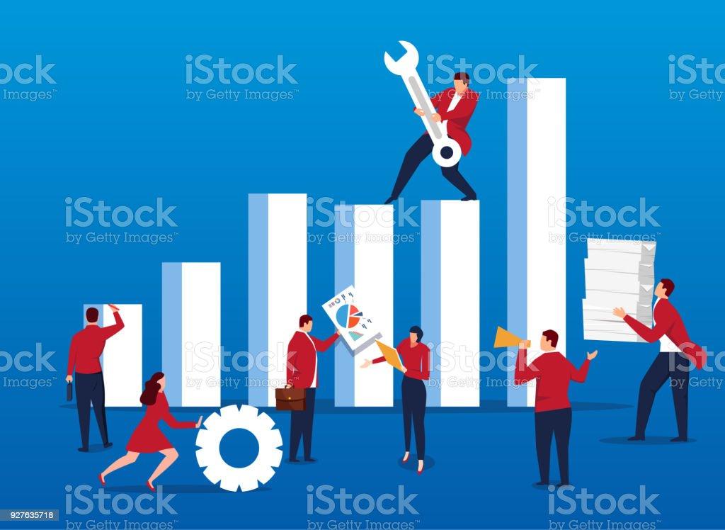 Profit management and maintenance vector art illustration