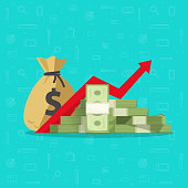Profit money or budget vector illustration, flat cartoon pile of paper cash, rising graph arrow up, concept of business success, economic or market growth, investment revenue earnings, benefit