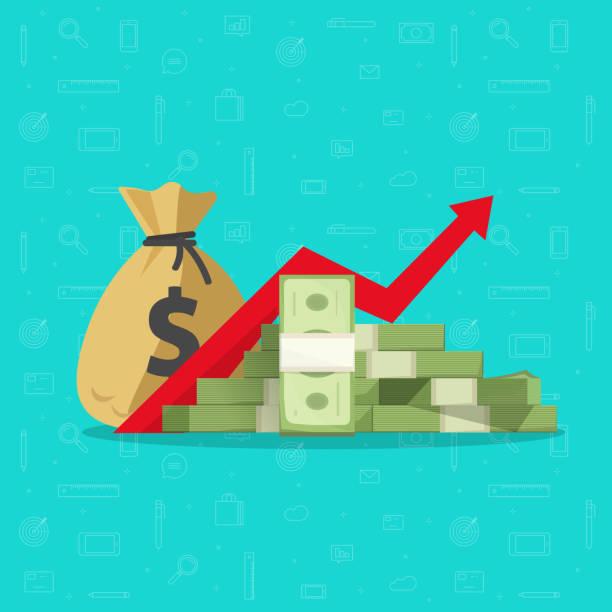 illustrations, cliparts, dessins animés et icônes de profit d'argent ou de budget vector illustration, tas de dessin animé plat d'argent de papier, flèche montante de graphique vers le haut, concept de réussite commerciale, économique ou la croissance du marché, produits de revenu de placement, avan - inflation