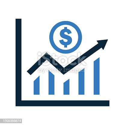 istock Profit statistics  icon, Earning growth chart 1205355574