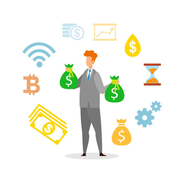 Profitable Business Strategy Vector Illustration Profitable Business Strategy Vector Illustration. Millionaire, Businessman Holding Money Bags Cartoon Character. Stock Market Trading, Successful Investment. Financial Literacy, Rich Man with Cash millionnaire stock illustrations