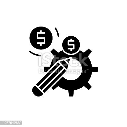 Profitable solution black icon, concept vector sign on isolated background. Profitable solution illustration, symbol