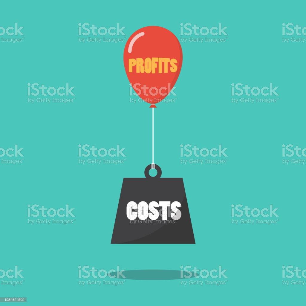 Profits and costs concept vector art illustration