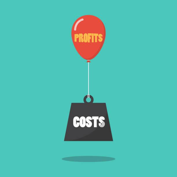 illustrations, cliparts, dessins animés et icônes de notion de bénéfices et coûts - inflation