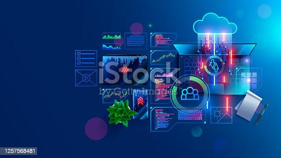 Program code create on laptop on programmer workplace. Coding, optimization and testing app, site on mobile devices. Text of program consists of functions on programing languages. IT technology banner