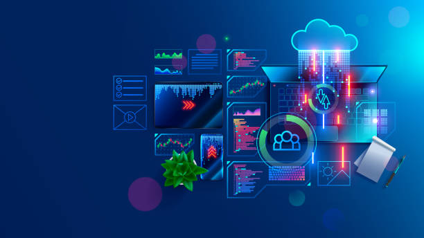 Program code create on laptop on programmer workplace. Coding, optimization and testing app, site on mobile devices. Text of program consists of functions on programing languages. IT technology banner vector art illustration