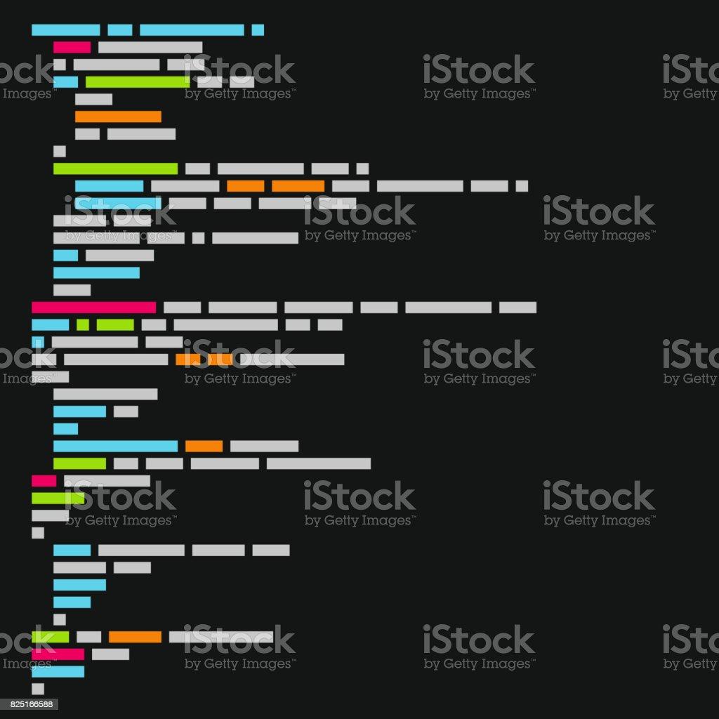 Program Code Listing, Abstract Programming Background. Vector vector art illustration