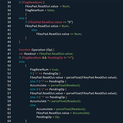 Program code page - programming script vector background stock illustration.  script, HTML