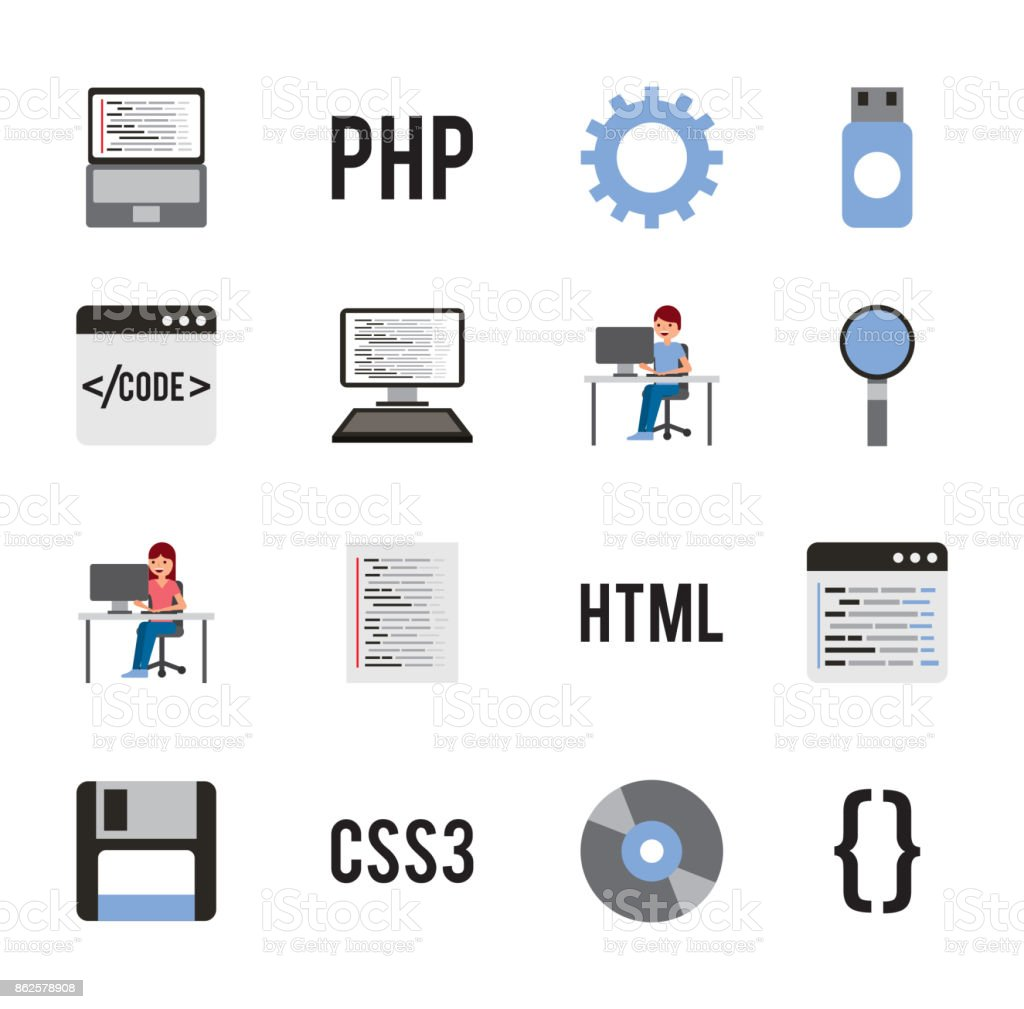 Program Coding Set Icons Web Design Languages Stock Illustration Download Image Now Istock