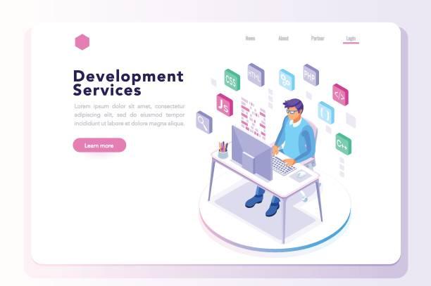 プログラム開発者のウェブサイトのバナーの - フリーランス点のイラスト素材/クリップアート素材/マンガ素材/アイコン素材