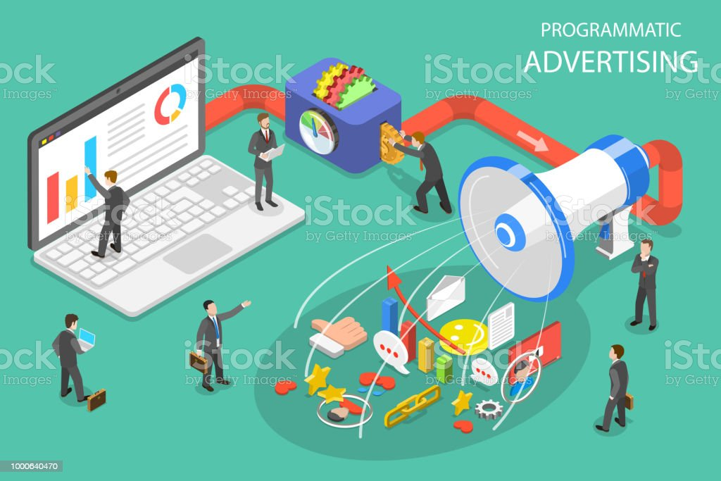 Programmatic advertising flat isometric vector concept. vector art illustration