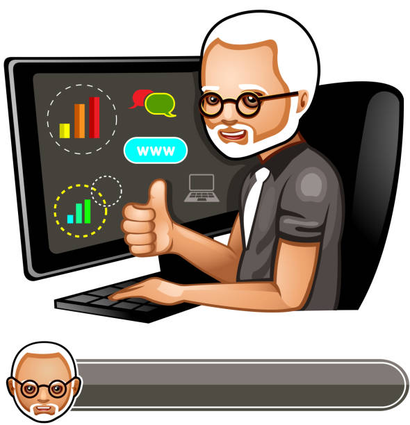 programmer at the pc - old man computer silhouette stock illustrations, clip art, cartoons, & icons