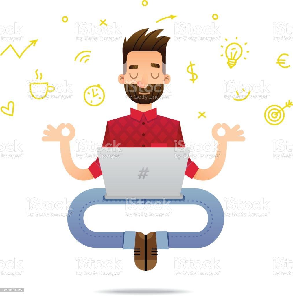 Personnage de dessin animé de programmeur - Illustration vectorielle