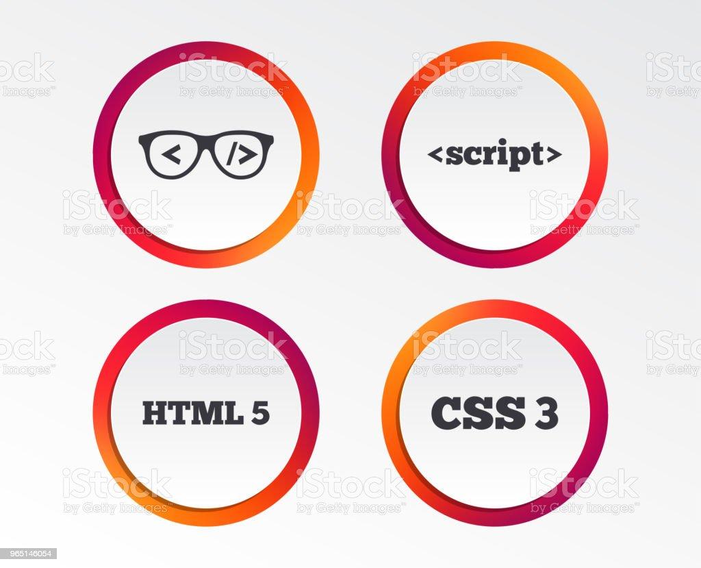 Programmer coder glasses. HTML markup language. programmer coder glasses html markup language - stockowe grafiki wektorowe i więcej obrazów aplikacja mobilna royalty-free