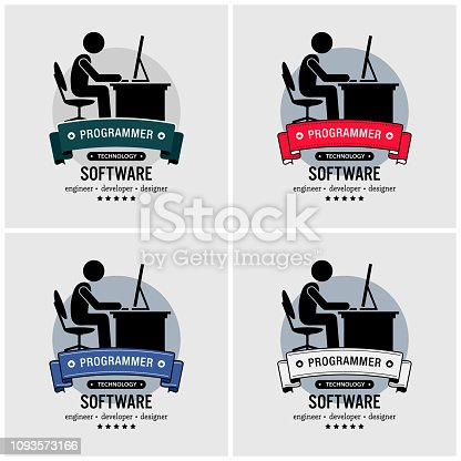 Vector artwork of an IT specialist coding and programming with a computer.