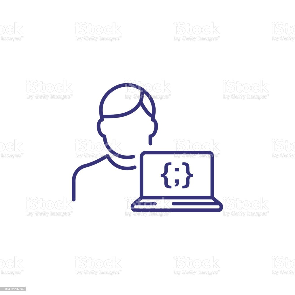Programmer line icon. Man and laptop with code symbol on screen....