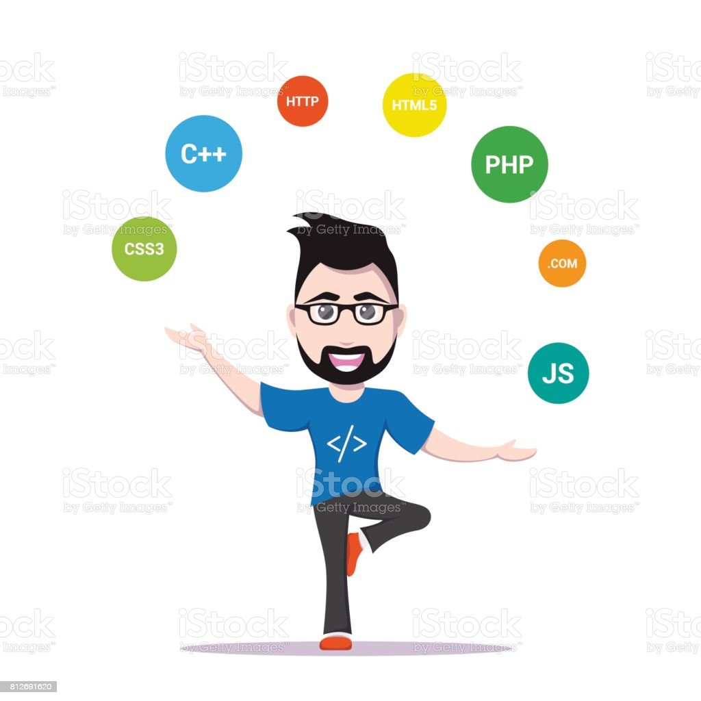 programmer man character vector art illustration