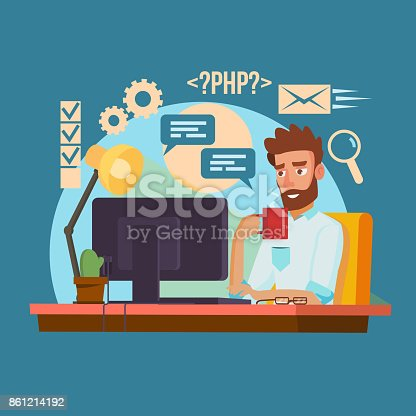 Programmer Man Vector. Stylized Young Developer. Person Working On Computer. Isolated Flat Cartoon Character Illustration