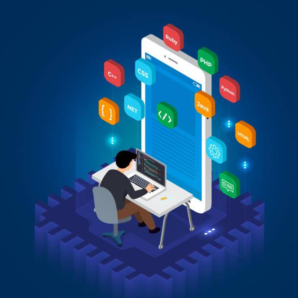 Programmer mobile application vector art illustration