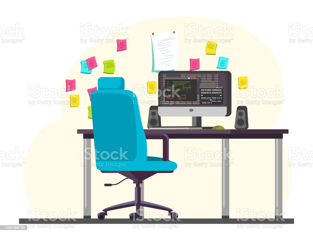 Programmer Office Workplace With Computer On Desk Stock Illustration Download Image Now Istock