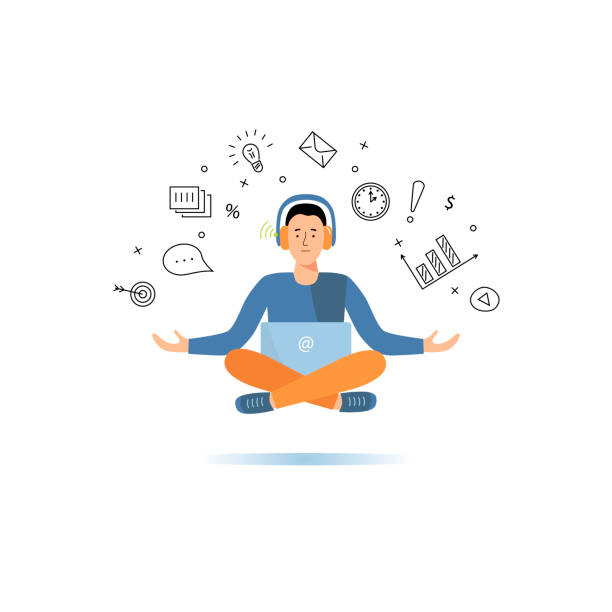 Programmer or project manager in a yoga pose. vector art illustration