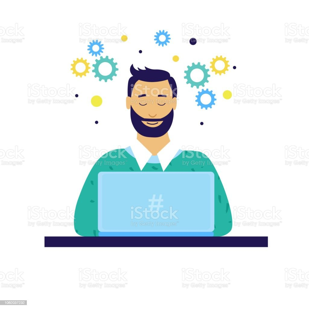 Programmer or project manager or student with laptop vector art illustration