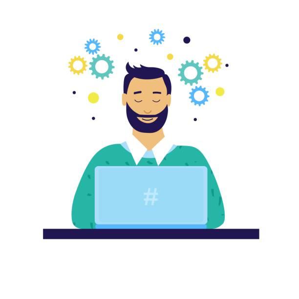 illustrations, cliparts, dessins animés et icônes de programmeur ou chef de projet ou étudiant avec ordinateur portable - chef de projet