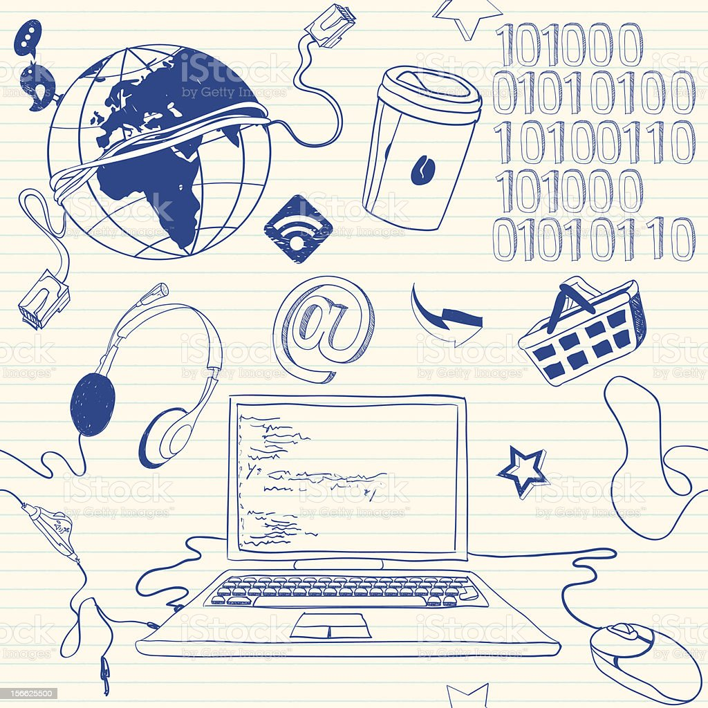 Programmer stuff doodles royalty-free stock vector art