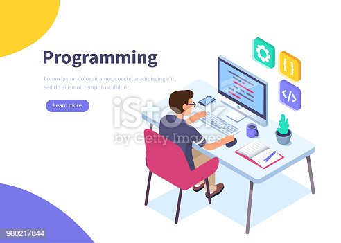 Programmer at work concept banner.  Can use for web banner, infographics, hero images.  Flat isometric vector illustration isolated on white background.