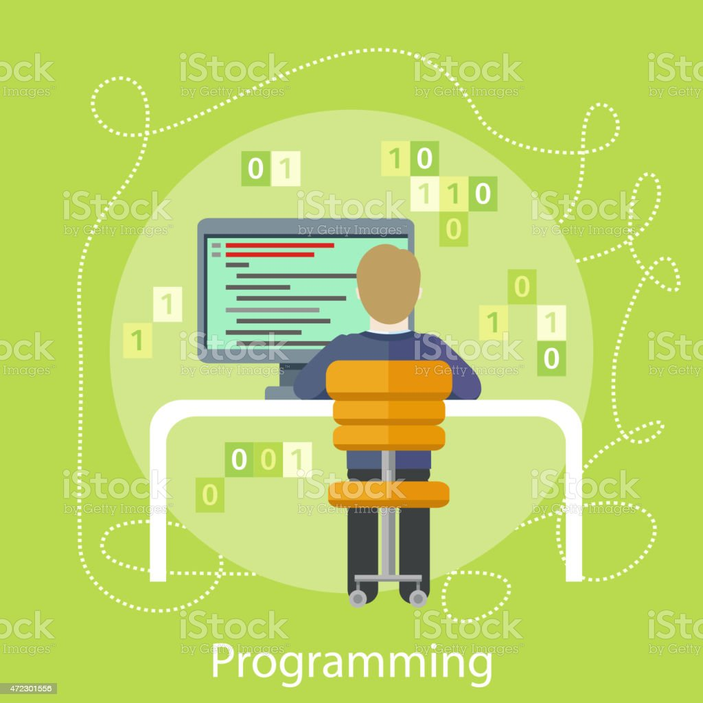 Professional concept with male computer programmer sitting in a chair...