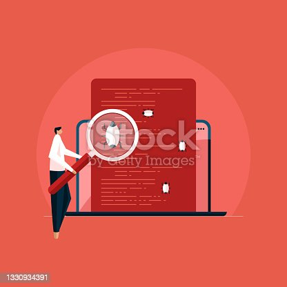 istock Programmer with magnifier looking for defect in programmed, Software application Bugs and Error testing 1330934391