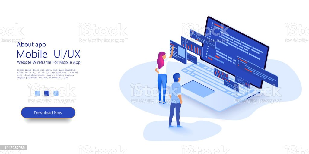 Programmer woman and man  at work concept banner. Website design. Software, web development, programming concept. Flat isometric vector illustration isolated on white background. royalty-free programmer woman and man at work concept banner website design software web development programming concept flat isometric vector illustration isolated on white background stock illustration - download image now