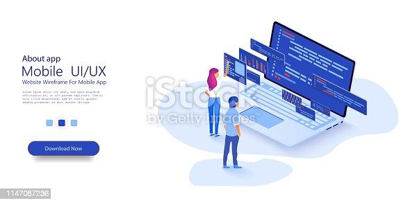 Programmer woman and man  at work concept banner. Website design. Software, web development, programming concept.