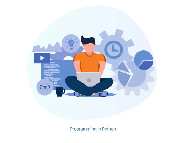 Programmer works at a laptop, freelancer. An employee programs and fixes bugs. Programmer works at a laptop, freelancer. An employee programs and fixes bugs. Front End, Back End, Marketing, DevOps, Project Manager, Design, Analyst, Product Manager, Technical Writer php programming language stock illustrations