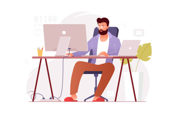 Programmer works at home at the computer. Remote work in the home office. IT specialist freelancer. Colorful vector illustration in flat cartoon style. vector art illustration