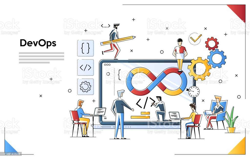 Programmers at work concept. Can use for web banner, infographics,...