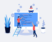 Programmers coding and correct errors in project. Laptop screen with program code. Trendy flat style. Vector illustration.