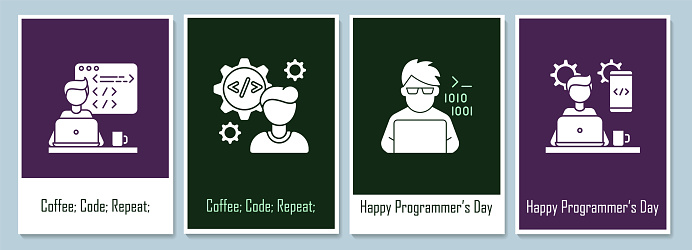 Programmers day greeting cards with glyph icon element set