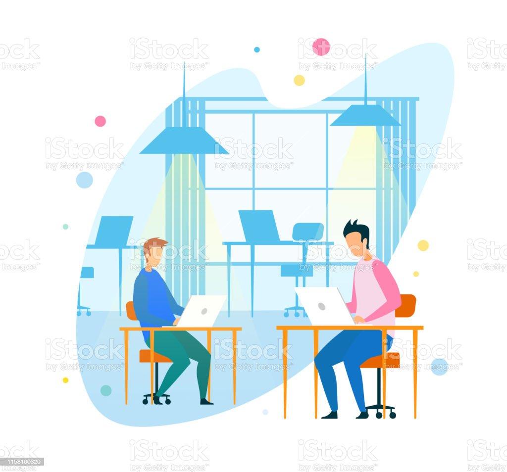 Programmers Using Digital Devices in Modern Office. Men Freelancers...
