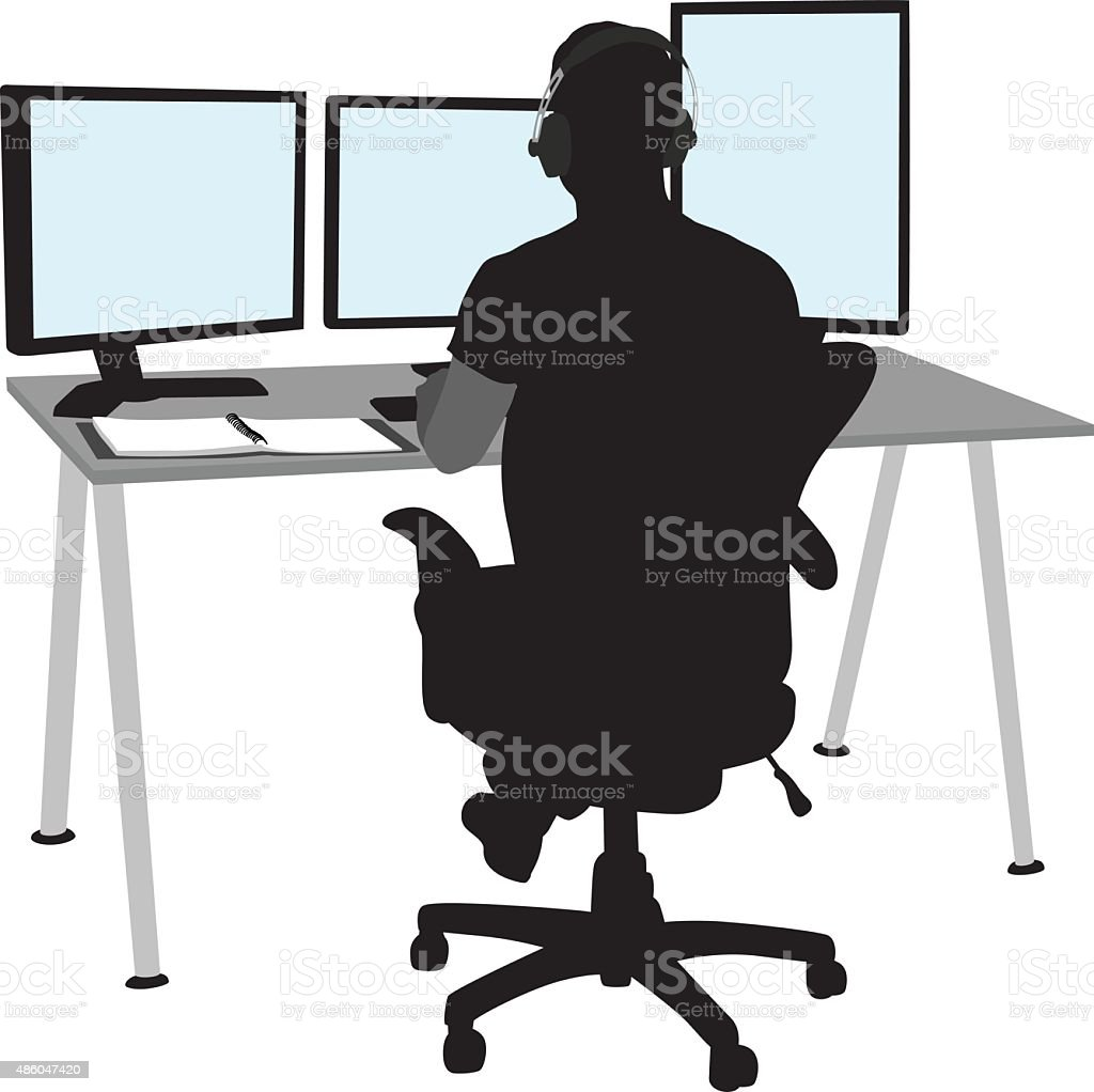 Programmer's Work Station vector art illustration