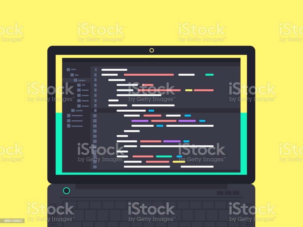 Programming and coding concept vector art illustration