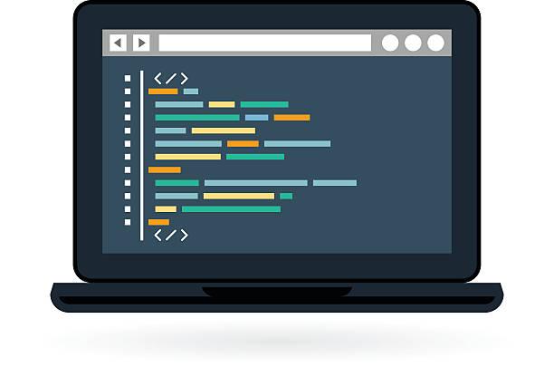programmierung und codierung icon-laptop - html stock-grafiken, -clipart, -cartoons und -symbole